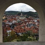 View of cesky krumlov. View of the city cesky krumlov, in Czech Republic through a cement archway Royalty Free Stock Photos