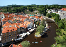 View of Cesky Krumlov and rafting on Vltava river Stock Photography
