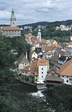 View of Cesky Krumlov with the round painted tower of its Castle and the church of St. Jost. Cesky Krumlov is one of the most royalty free stock photo