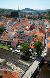 View of Cesky Krumlov with St. Vitus cathedral Stock Image