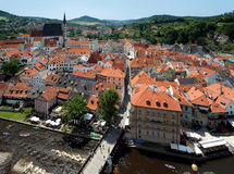 View of Cesky Krumlov with St. Vitus cathedral Royalty Free Stock Image