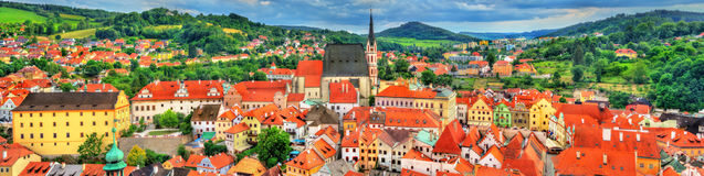 View of Cesky Krumlov town, a UNESCO heritage site in Czech Republic Royalty Free Stock Photo