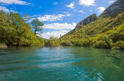 View of Cetina river around Omis Almissa city, Dalmatia, Croatia/ canyons/river/green/mountains royalty free stock photos