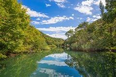 View of Cetina river around Omis Almissa city, Dalmatia, Croatia/ canyons/river/green/mountains royalty free stock photography