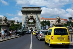 View of the Chain bridge & Buda Castle in Budapest stock image