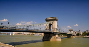 View of the chain bridge in Budapest Royalty Free Stock Photos