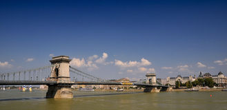 View of the chain bridge in Budapest Royalty Free Stock Images