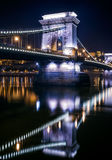 The view of the Chain bridge in Budapest, Hungary, at night Royalty Free Stock Photo