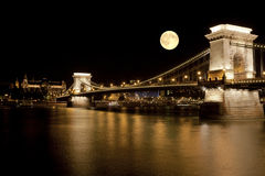 The view of the Chain bridge in Budapest Stock Images