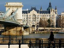 View of the Chain Bridge in Budapest under blue sky stock images