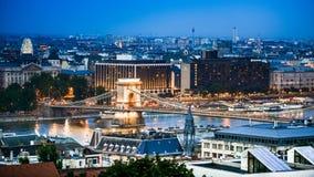 View on Chain bridge on Danube stock footage