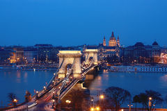 A view of the Chain Bridge. Chain Bridge in downtown Budapest Royalty Free Stock Photography