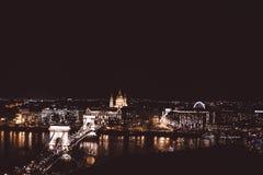 View of Chain Bridge at night, Budapest, Hungary stock image