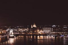 View of Chain Bridge at night, Budapest, Hungary stock photos