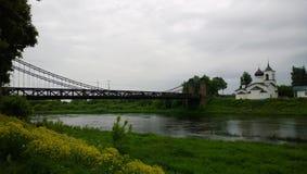 View of Chain Bridge in Ostrov, Pskov region Royalty Free Stock Image