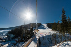 View from the chair lift to the ski slope. Royalty Free Stock Photos