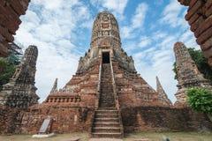 Chaiwattanaram temple in cloudy day in Ayutthaya, Thailand. View of Chaiwattanaram temple in cloudy day in Ayutthaya, Thailand Royalty Free Stock Images