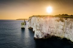A view of the chalk cliffs at old harry rocks in Swanage stock photos