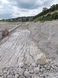 View into a chalk quarry mine stock photography