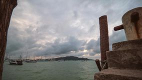 View from Chalong Pier at Moving Tropical Storm Typhoon Sky Clouds. Phuket Island, Thailand. 4K Timelapse. View from Chalong Pier at Moving Tropical Storm stock video