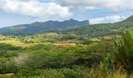 View on Chamarel with rum factory from Plaine Champagne Mauritiu. S Stock Images