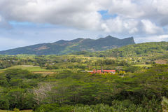 View on Chamarel with rum factory from Plaine Champagne Mauritiu. S Royalty Free Stock Images