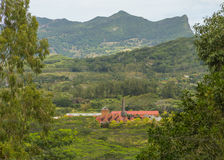 View on Chamarel with rum factory from Plaine Champagne Mauritiu. S Stock Photography