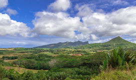 View on Chamarel with rum factory from Plaine Champagne Mauritiu. S Royalty Free Stock Photos