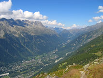 View of the Chamonix city. In the valley - France - The Alps Royalty Free Stock Photography