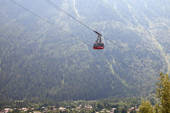 The view of Chamonix's valley with cabin of Flegere cable car royalty free stock image