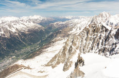 View in Chamonix valley from Aiguille du Midi - Mont Blanc mountain, France Stock Photos