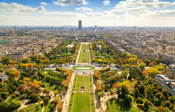 View of Champ de Mars from the Eiffel Tower in Paris, France. Stock Image