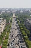 View of the Champs Elysees in Paris, France. View of the Champs Elysees in Paris from the Arc de Triomphe, France Royalty Free Stock Photography