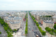 View of the Champs Elysees to the Arc de Triomphe . Champs-Elysees from top of Arc de Triomphe Stock Photo