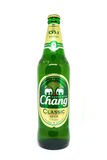 View of `Chang Classic lager Beer` bottles in supermarket. The Chang Classic brand owned by ThaiBev Royalty Free Stock Images