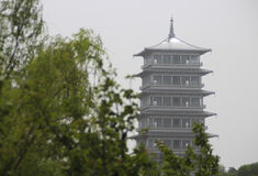 View the changan tower under the green trees Stock Image