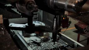 View of changing primary cutter on machine stock video