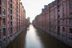 View into a channel at the Speicherstadt Stock Image