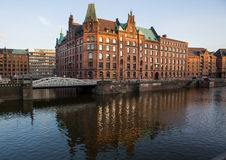 View into a channel at the Speicherstadt Royalty Free Stock Image