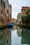View of the channels and old palaces in Venice in the morning -. View of the channels and old palaces in Venice in the morning Stock Photo