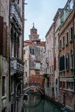 View of the channels and old palaces in Venice in the morning Royalty Free Stock Image