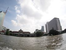 View of CHAO PHRAYA river bank during travelling Stock Images