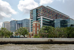 View from the Chao Phraya river on modern multistory building Stock Image