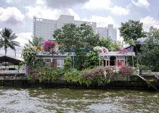 View from the Chao Phraya river on the private houses Stock Image
