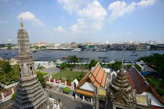 View of Chao Phraya River from Wat Arun Stock Image