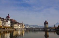 View of Chapel Bridge. And lake Lucerne Switzerland Stock Photo