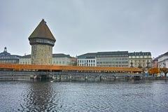 View of Chapel Bridge over Reuss River in Lucerne, Switzerland Royalty Free Stock Photo