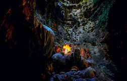 Callao cave chapel at chamber 1 with stalactites and stalagmites formations stock photography