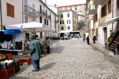 Street market at the village of Agnone. View of characteristic street market at Agnone medieval village. Molise region, central south Italy royalty free stock images