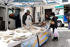 Street market at the village of Agnone. View of characteristic street market at Agnone medieval village. Molise region, central south Italy royalty free stock photos
